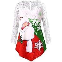 LILICAT☃❋ Dibujos Animados de Gran tamaño con Encaje de Santa Claus Mujer Tallas Grandes Navidad Túnica con Estampado de Santa Claus Camiseta de Manga Larga