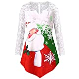 IZHH Damen Shirt Frauen Plus Size Weihnachten Weihnachtsmann Print Spitze Tunika T-Shirt Langarm Top Damen Größe Santa Druck Lace Top Sweat-Shirts Pullover Tunika Blusen Tops(Grün,XXXXX-Large)