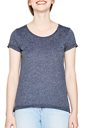 edc by ESPRIT Damen T-Shirt 077CC1K005, Blau (Navy 5 404), Small