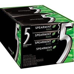Five Sugar Free Gum, RainSpearmint, 15 Piece Pack (10 Count) by Wrigley's
