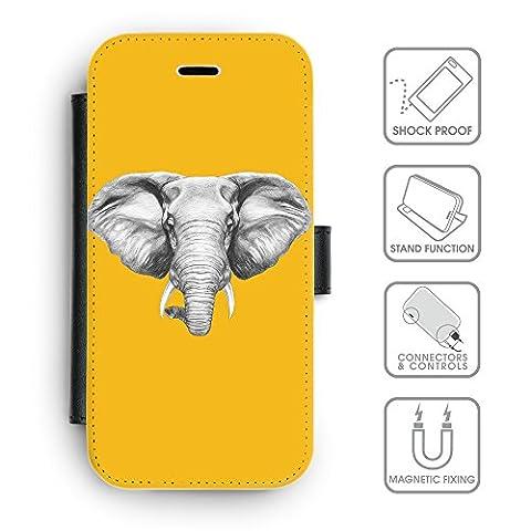 Flip PU Leather Wallet Case avec des fentes de carte de crédit // Q05130602 Dessin éléphant ambre // sony xperia xa 2016