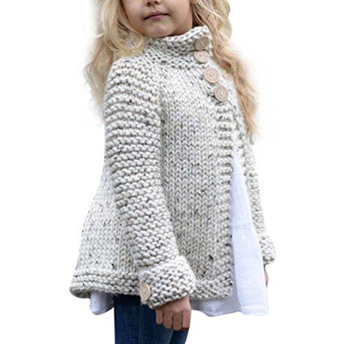 Kinder Lange Winterjacke Pullover Mädchen Kinderjacke Wintermantel Strickjacken (140, Beige)