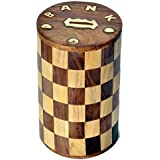RGRANDSONS Wooden Money Bank,Round Shape Chess Design,Piggy Bank For Boys Girls And Adults,Coin Storage Box