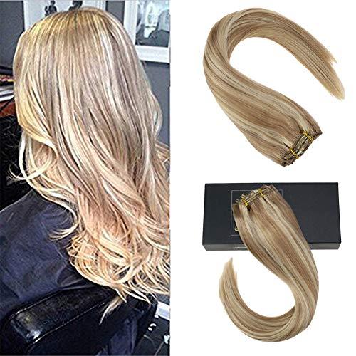 Sunny extension capelli veri biondo platino & 16inch/40cm 9pcs/140g highlight biondo remy extension clip umain capelli - 100% - veri capelli extension clip
