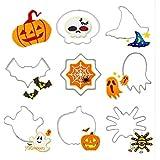 Chakil Halloween 8PCS Biscotti in Acciaio Inox Biscotti Zucca Strega Cappello Teschio Fantasma per Biscotti