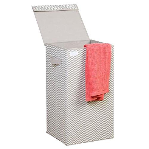 mDesign Wäschekorb mit Deckel hellgrau – Faltbarer Wäschesack – Idealer Wäschesammler zum Reisen – Wäschetruhe Kunststoff (Wäsche Schmutzige)