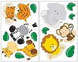 plot4u 14-teiliges Dschungeltiere Wandtattoo Set Löwe Giraffe AFFE Kinderzimmer Babyzimmer in 5 Größen (2x21x34cm Mehrfarbig)