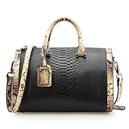QIAN Damen Schlangenleder Tasche Mode Handtasche Umhängetasche Münztasche,black