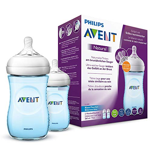 Philips Avent Natural Flasche SCF035/27, 260 ml, naturnahes Trinkverhalten, Anti-Kolik-System,blau, 2er Pack