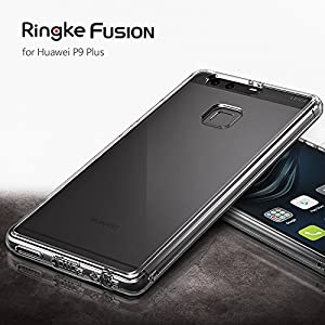 Huawei P9 Plus Case, Ringke [FUSION] Crystal Clear PC Back TPU Bumper [Drop Protection / Shock Absorption Technology] for Huawei P9 Plus (Smoke Black)