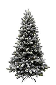 Forever Green 958975 Brewer, albero di Natale finto, PVC e PE, 210 x 124 cm, con luci 350 LED, 1,248 punte di metallo, verde/neve
