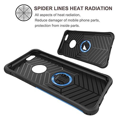 iPhone 6s Hülle,iPhone 6 Hülle,Fodlon® Absturzsicherung &Stoßdämpfende &Staubdicht Handy-Schutzhülle mit Rotierende Ständer Funktion für iPhone 6 6s SE-blau Silber
