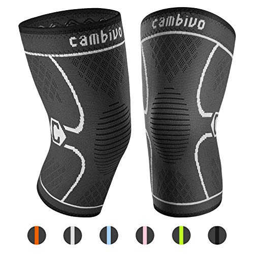 CAMBIVO 2 x Kniebandage, Knieschoner, Kniestützer für Meniskusriss, Arthritis, ACL-Verletzung, Gelenkkrankheiten, Laufen, Wandern, Joggen, Sport, Volleyball, Crossfit
