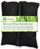 Best Activated Charcoal Shoe deodoriser By Sagano - 2x All Natural Activated Charcoal Odour Absorbers - Stop Stinky Feet and Smelly Socks - Prevents Mold and Bacteria - Smoke Smell Remover