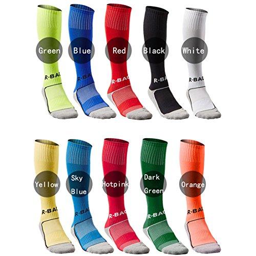 Yohope Unisex Knee High Striped Sports Football Soccer Hockey Tube Cotton Socks for Kids 8-13 years  White