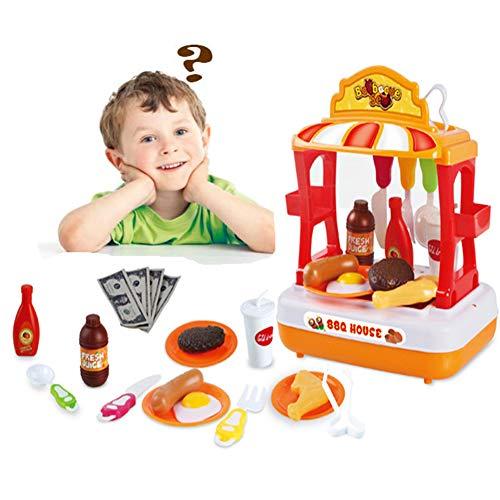 leegoal Küche Spielzeug für Kleinkinder, Kinder schneiden Spielzeug Essen Spielen Set Spielzeug Spaß BBQ, Obst, EIS Tisch, Mini Kids Gerichte pädagogische Playset für Kinder Mädchen Jungen (Spiel-essen Schneiden)