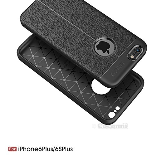 iPhone 6S Plus / 6 Plus Hülle, Cocomii Ultimate Armor NEW [Heavy Duty] Premium Leather Pattern Slim Fit Shockproof Hard Bumper Shell [Military Defender] Full Body Dual Layer Rugged Cover Case Schutzhü Black