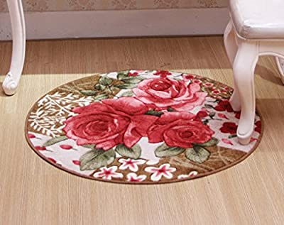 Outgeek Round Rugs European Style Area Rug Vintage Red Rose Bedroom Carpet - cheap UK light store.