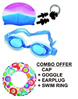 1 Goggles plus 1 cap plus 1 ear plug plus 1 nose plug plus 20inch ring. Swim ring size - 3 to 6 years and cap goggle fit for any size.