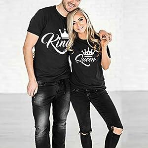 Ziwater Paar T-Shirt 2er Set King Queen mit Aufdruck Als Geschenk Valentinstag Partner T-Shirt Symbolische Liebe T-Shirt (King-M+Queen-S, Schwarz)
