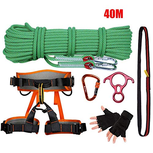 40M Rock Kletter-Rope Outdoor Carabiner Harness Adventure Equipment Wild Survival Set Fire Escape Rescue Parachute Static Indoor Rope, Safety Durable