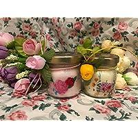 4 mini candele profumi misti segnaposto motivo floreale in vasetto con tappo personalizzato Matrimoni Comunioni Battesimi Compleanni Anniversari Nozze Oro Argento Country Shabby Chic Ricordo per gli ospiti