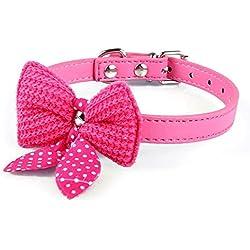 Upper Collar para Mascotas Gatos Gatitos Perros Pequeños con Lazo Collar Ajustable 1.5cm×37cm Rosa