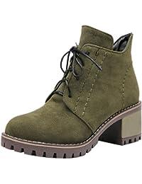 TAOFFEN Damen Klassischer Schnurung Herbst-Winter Mid Heel Martin Boots