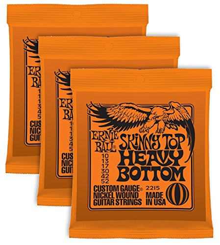 Ernie-Ball-Skinny-Top-Heavy-Saiten aus Nickel.010-.052, 3 Sets Heavy Bottom Set