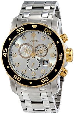 THE INVISIBLE CHEF 80040 - Reloj de cuarzo para hombre, con correa de acero inoxidable, color plateado de Invicta