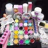 Kit de Manucure et Nail Art ultra complet - 21 accessoires Professionnel  Poudre de couleur acrylique Nail art français Ensemble de conseils en décoration-Yogogo