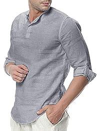 4be84afde8a6 ORANDESIGNE Uomo Camicia in Lino Manica Lunga Senza Colletto Colore Puro Camicie  Estate Elegante Casual Allentata