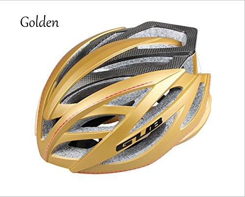 Hflsmm ess-Casco de ciclismo Fibra de carbono Bicicleta de montaña Bicicleta de carretera Bicicleta de una pieza para hombres y mujeres Equipo de equitación Casco, Golden
