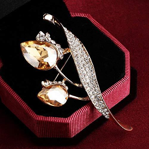 Mode Champagner Strass Brosche Krawatte Voller Kristall Blatt Blume Broschen Pins Für HochzeitPerfectforU