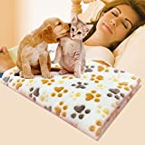 Pets Empire Pet Dog Blanket Fleece Fabric Puppy Baby Cat Soft Blankets Throw Comfortable For Sleep Mat Couch Sofa Doggy Warm Bed with Paw Prints Size 90cm X 60cm 1 Piece Color May Vary