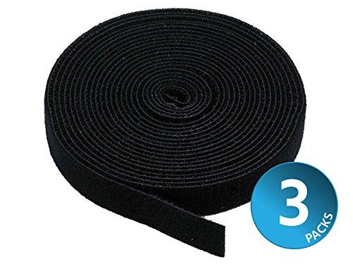 Monoprice Klettband mit Klettverschluss - Schwarz, 5 Yard/Rolle, 0,75 Zoll (3-Pack) in Miraclein-Verschluss mit Tausenden von Verwendungszwecken -