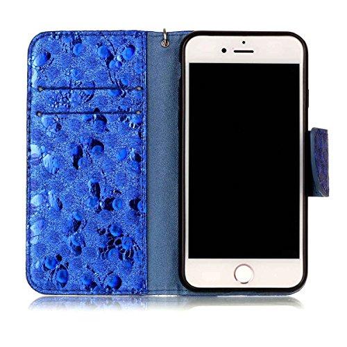 iPhone 7 Hülle, SHUNDA Brieftasche Schutzhülle Flip Leder Handyhülle mit Kippständer Bling Schmetterling Bookstyle Handycover für iPhone 7 / iPhone 8 - Golden Blau