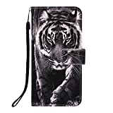 Phcases LG Stylo 5 Case, Shockproof PU Leather Flip Wallet Case with Magnetic Closure Stand Card Holder ID Slot Money Pouch Folio TPU Bumper Protective Skin Phone Cover for LG Stylo 5(Tiger).