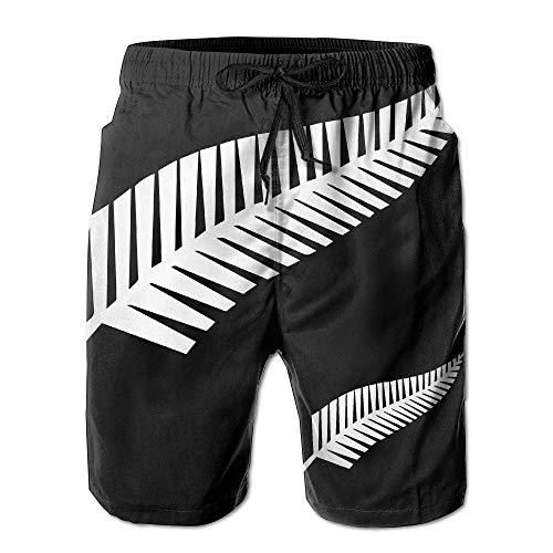 OPoplizg Men's New Zealand Fern Flag Beach Shorts Quick-Dry Swim Trunks,XL