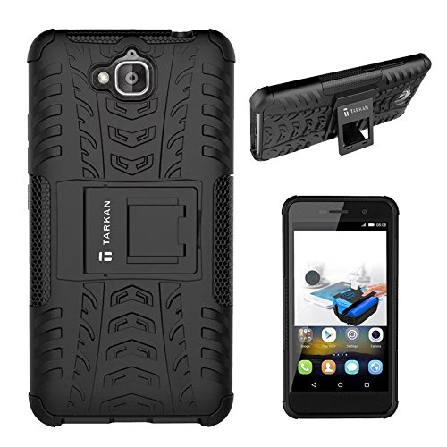 TARKAN Hard Armor Hybrid Rubber Bumper Kick Stand Back Case Cover For Huawei Honor Holly 2 Plus [Black]