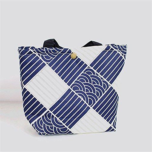 Qearly Sea Wave Stil Portable Lunchtasche Picknick Tasche Bento Tasche-A