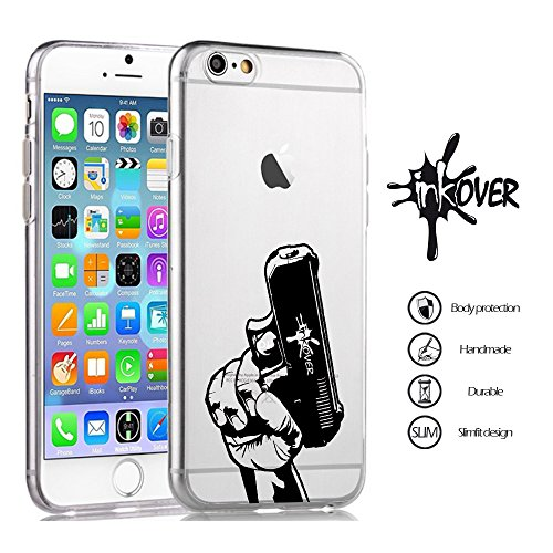 Cover iPhone 7 - INKOVER - Custodia Cover Protettiva Guscio Soft Case Bumper Trasparente Sottile Slim Fit Tpu Gel Morbida INKOVER Design OLD SCHOOL BARBER SHOP Vintage Tatuaggio Tattoo per APPLE iPhon CLEAR GUN