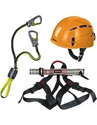 Alpidex Kletterhelm ARGALI + Alpidex Klettergurt TAIPAN red pepper + Edelrid Klettersteigset Cable Lite 2.3