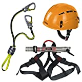 Alpidex Kletterhelm ARGALI + Alpidex Klettergurt TAIPAN red pepper + Edelrid Klettersteigset Cable Lite 2.3, Farbe:sunset orange