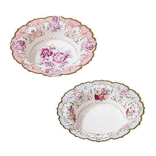 Talking Tables Truly Scrumptious Bols en Carton à Motif Floral Vintage pour Goûter Festif, Mariage et Fête d'Anniversaire, 2 Modèles, Rose et Bleu (Paquet de 12)