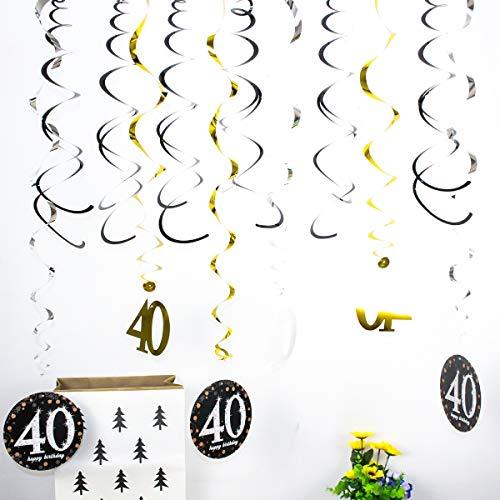 tag hängen wirbelt Banner Dekoration spiralen Geburtstagsfeier DIY Requisiten (Color : 40th) ()