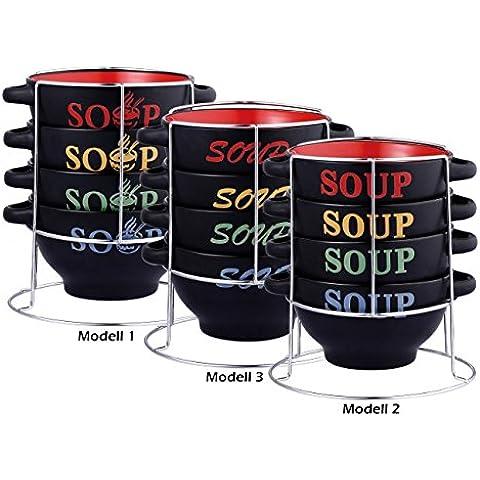 Set di 5ciotole per zuppa con ceramica, 4ciotole (700ml–3diversi models-dessert piatti/zuppa zuppiera terrine-soup Tazza/Ciotola per cereali set-stacker, Modell 2
