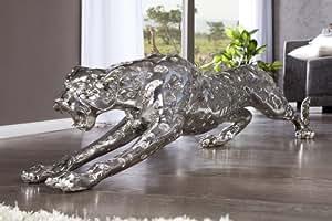 Statue géante léopard 145 cm statue figurine de décoration d'argent