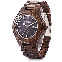 GBlife Bewell ZS - W023A Männer Holz Armbanduhr mit Kalender Anzeige Retro Stil--(Ebenholz)