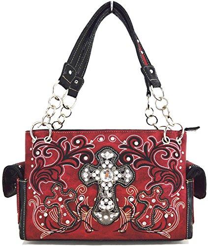 Blancho Biancheria da letto delle donne [Croce Satchel] PU Leather Bag Set Elegante Portafoglio Hanbag Combo Bag borsa di modo TURCHESE COMBO-RED